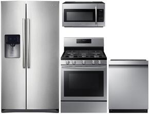 "4-Piece Stainless Steel Kitchen Package with RS25H5111SR 36"" Side-By-Side Refrigerator, NX58H5600SS 30"" Freestanding Gas Range, DW80J3020US 24"" Full Console Dishwasher and ME18H704SFS 30"" Over The Range Microwave"