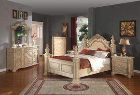 SIENNAPANELKSET Sienna White Finished King Sized Panel Bed + 2 Nightstands + Dresser + Mirror