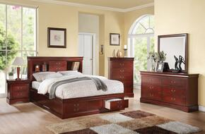 Louis Philippe III 24380Q5PC Bedroom Set with Queen Size Bed + Dresser + Mirror + Chest + Nightstand in Cherry Finish