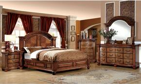 Bellagrand Collection CM7738QBDMCN 5-Piece Bedroom Set with Queen Bed, Dresser, Mirror, Chest, and Nightstand in Antique Tobacco Oak Finish