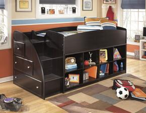 Embrace B239-68T-17-13L Twin Loft Bed with Loft Bed Top, Left Storage with Steps and Two Loft Bookcases in Merlot