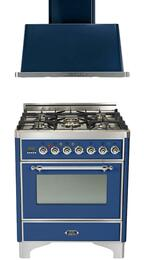"2-Piece Midnight Blue Kitchen Package with UM76DMPBLX 30"" Freestanding Dual Fuel Range (Chrome Trim, 5 Burners, Timer) and UAM76BL 30"" Wall Mount Range Hood"