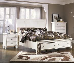 Prentice Collection 2-Piece Bedroom Set with Queen Storage Bed and Nightstand in White