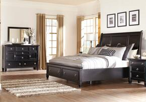 Greensburg King Bedroom Set with Storage Bed, Dresser and Mirror in Black