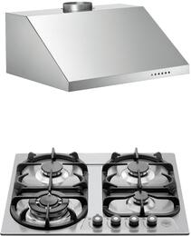 "2-Piece Stainless Steel Kitchen Package with V24400X 24"" Natural Gas Cooktop and KU24PRO1X14 24"" Canopy Hood"