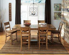 Regine Collection 7-Piece Dining Room Set with Dining Room Counter Table and 6 Barstools in Light Brown