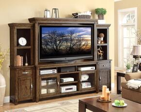 "Rustico Collection ZRST-1000 Entertainment Wall Unit with 72"" TV Console, Hutch, Left/Right Pier Bases and Left/Right Pier Tops in Rustic Walnut"