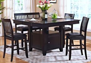 4510210CC Kaylee 5 Piece Counter Height Dining Room Set with Table and Four Chairs, in Espresso