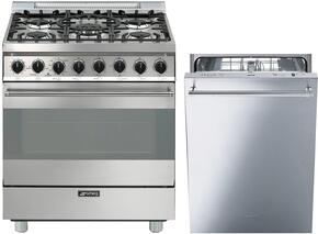 "Smeg Stainless Steel 2-Piece Kitchen Package With C30GGXU1 30"" Gas Freestanding Range with 5 Burners and ST8646XU 24"" Built In Fully Integrated Dishwasher"