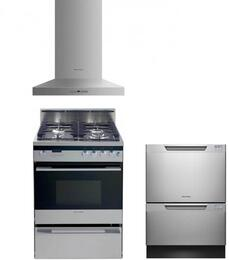 """3 Piece Kitchen Package With OR24SDPWGX1 24"""" Dual Fuel Freestanding Range, DD24DDFTX7 24"""" Dishwasher and Free DD24DCHTX7 24"""" Wall Chimney Pyramid Hood In Stainless Steel"""