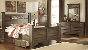 Allymore King Bedroom Set with Poster Bed, Dresser, Mirror and Chest in Aged Brown