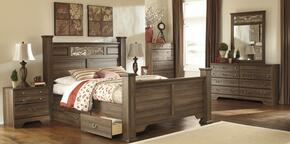 Allymore King Bedroom Set with Poster Bed, Dresser, Mirror and Nigtstand in Aged Brown