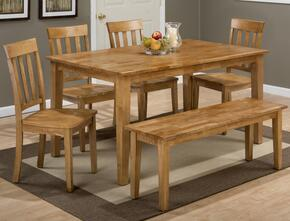Simplicity Collection 35260SSET 6 PC Dining Room Set with Rectangle Dining Table + Bench + 4 Slat Back Chairs in Honey Finish