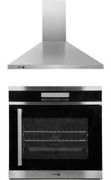 "2 Piece Stainless Steel Kitchen Package with 6HA-200TLX 24"" Convection Wall Oven with Right Hinge and 60CFP-24X 24"" Chimney Wall Mount Range Hood"