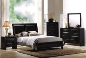 04153QDMCN Ireland Queen Size Bed +Dresser + Mirror + Chest + Nightstand in Black