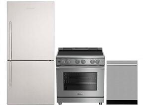 "3-Piece Kitchen Package with BRFB1812SSN 30"" Bottom Freezer Refrigerator, BDFP34550SS 30"" Slide-in Electric Range, and a free DWT57500SS 24"" Built In Fully Integrated Dishwasher in Stainless Steel"