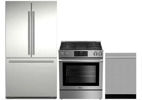 "3-Piece Kitchen Package with BRFD2230SS 36"" French Door Refrigerator, BGR30420SS 30"" Slide In Gas Range, and DWT55300SS 24"" Built In Fully Integrated Dishwasher in Stainless Steel"