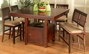 040705CCB Brendan 6 Piece Dining Room Set with One Counter Table Top, Four Chairs and One Bench, in Bordeaux
