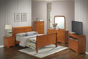 G3160AKBSET 6 PC Bedroom Set with King Size Sleigh Bed + Dresser + Mirror + Chest + Nightstand + Media Chest in Oak Finish