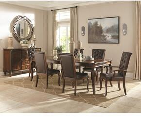 106811 Williamsburg Traditional Dining Table and 4 Dining Side Chairs in Roasted Chestnut Finish