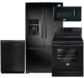 "Gallery 4-Piece Black Kitchen Package with FGHB2866PE 36"" French Door Refrigerator, FGEF3030PB 30"" Freestanding Electric Range, FGID2474QB 24"" Fully Integrated Dishwasher and FGMV175QB 30"" Over-the-Range Microwave"