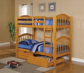 02359KDD Heartland Twin over Twin Bunk Bed + 2 Drawers with Hardwood Solids and Veneers in Honey Oak Finish
