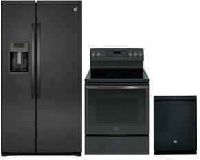 "3 Piece Kitchen Package with GSE25HBLTS  36"" Side by Side Refrigerator, JB750FJDS  30"" Freestanding Electric Range and GDT655SFLDS 24"" Built-in Dishwasher in Black Slate"