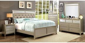 Briella Collection CM7101CKBDMCN 5-Piece Bedroom Set with California King Bed, Dresser, Mirror, Chest and Nightstand in Silver Finish