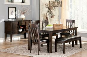 Natashia Collection 7-Piece Dining Room Set with Extendable Table, 4 Side Chairs, Upholstered Bench and Server Cabinet in Dark Brown Finish