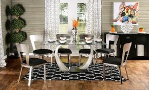 Nova Collection CM3728T6SC 7-Piece Dining Room Set with Rectangular Table and 6 Side Chairs in Silver/Black