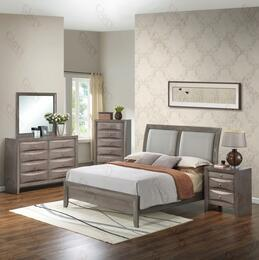 G1505AQBDMN 4 Piece Set including Queen Size Bed, Dresser, Mirror and Nightstand  in Gray.