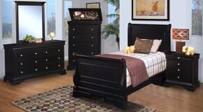 00013TYSBDMCN Belle Rose Youth 5 Piece Bedroom Set with Twin Sleigh Bed, Dresser, Mirror, Chest and Nightstand, in Black Cherry