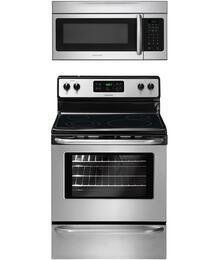 "2-Piece Stainless Steel Kitchen Package with FFEF3048LS 30"" Freestanding Electric Range and FFMV164LS 30"" Over-the-Range Microwave"