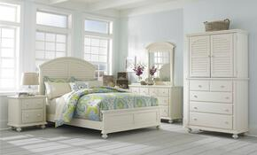 Seabrooke 4471QPBNMCDM 5-Piece Bedroom Set with Queen Panel Bed, Nightstand, Media Chest, Dresser and Mirror in Cream Finish