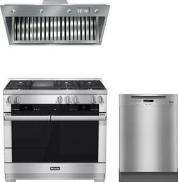 "3-Piece Stainless Steel Kitchen Package with HR1956DFGD 48"" Freestanding Dual Fuel Range, DAR1150 48"" Range Hood Insert, and G6625UCLST 24"" Full Console Dishwasher"