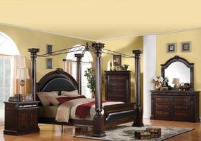 Roman Empire Collection 19340Q5PCSET Bedroom Set with Queen Size Canopy Bed + Dresser + Mirror + Chest + Nightstand in Dark Cherry Finish