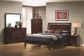 Serenity Collection 201971T5P 5 PC Bedroom Set with Twin Platform Bed + Chest + Dresser + Mirror + Nightstand in Rich Merlot Finish