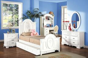 01677FBDMDCTN Flora 7 PC Set Full Size Panel Bed + Dresser + Mirror + Desk + Chair + Trundle + Nightstand in White Finish