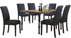 Vriel Collection 71580DBSET 7 PC Dining Room Set + 6 Dark Blue Slate Side Chairs in Dark Oak and Black Finish