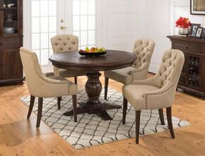 678-60TBKTSET2 Geneva Hills Round to Oval Pedestal Dining Table with 4 Tufted Side Chairs