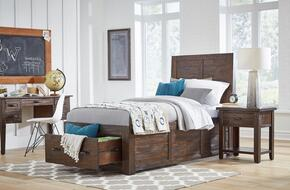 Jackson Lodge Youth Collection 1605TPBDN 3-Piece Bedroom Set with Twin Storage Bed, Desk and Nightstand in Brown