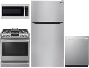 """4 Piece Kitchen Package With LSG4513ST 30"""" Slide In Gas Range, LMV1683ST Over The Range Microwave Oven, LTCS24223S 33"""" Top Freezer Refrigerator and LDF8874ST 24"""" Built In Dishwasher in Stainless Steel"""