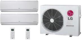 Dual Zone Mini Split Air Conditioner System with 21000 BTU Cooling Capacity, 2 Indoor Units, and Outdoor Unit