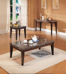 07142CES Danville Coffee Table + End Table + Sofa Table with Black Marble Top, Tapered Shaped Legs, Select Hardwoods and Veneers in Walnut Finish