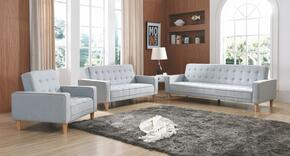 G800 Collection G833SET 3 PC Living Room Set with Sofa Bed + Loveseat Bed + Chair Bed in Light Blue Fabric