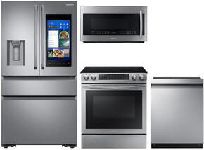 "4-Piece Stainless Steel Kitchen Package with RF23M8590SR 36"" French Door Refrigerator, NE58K9430SS 30"" Slide-In Electric Range, DW80M9550US 24"" Fully Integrated Dishwasher and ME21K7010DS 30"" Over-the-Range Microwave"