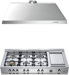 "2-Piece Stainless Steel Kitchen Package with CB486G00X 48"" Natural Gas Rangetop and KU48PRO1X14 48"" Range Hood"