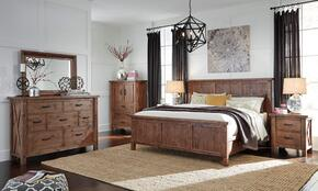 Tamilo Queen Bedroom Set with Panel Bed, Dresser, Mirror, 2 Nightstands and Chest in Greyish Brown Finish