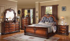 22310Q4PCSET Nathaneal Queen Size Bed + Dresser + Mirror + Nightstand with Decorative Carving Style, Black PU Button Tufted Like Headboard, Wood Veneers and Solids in Tobacco Finish