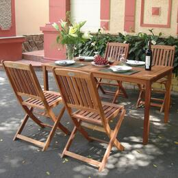 V98SET3 Outdoor Wood Balthazar Rectangular Table and 4 Outdoor Folding Bistro Chairs
